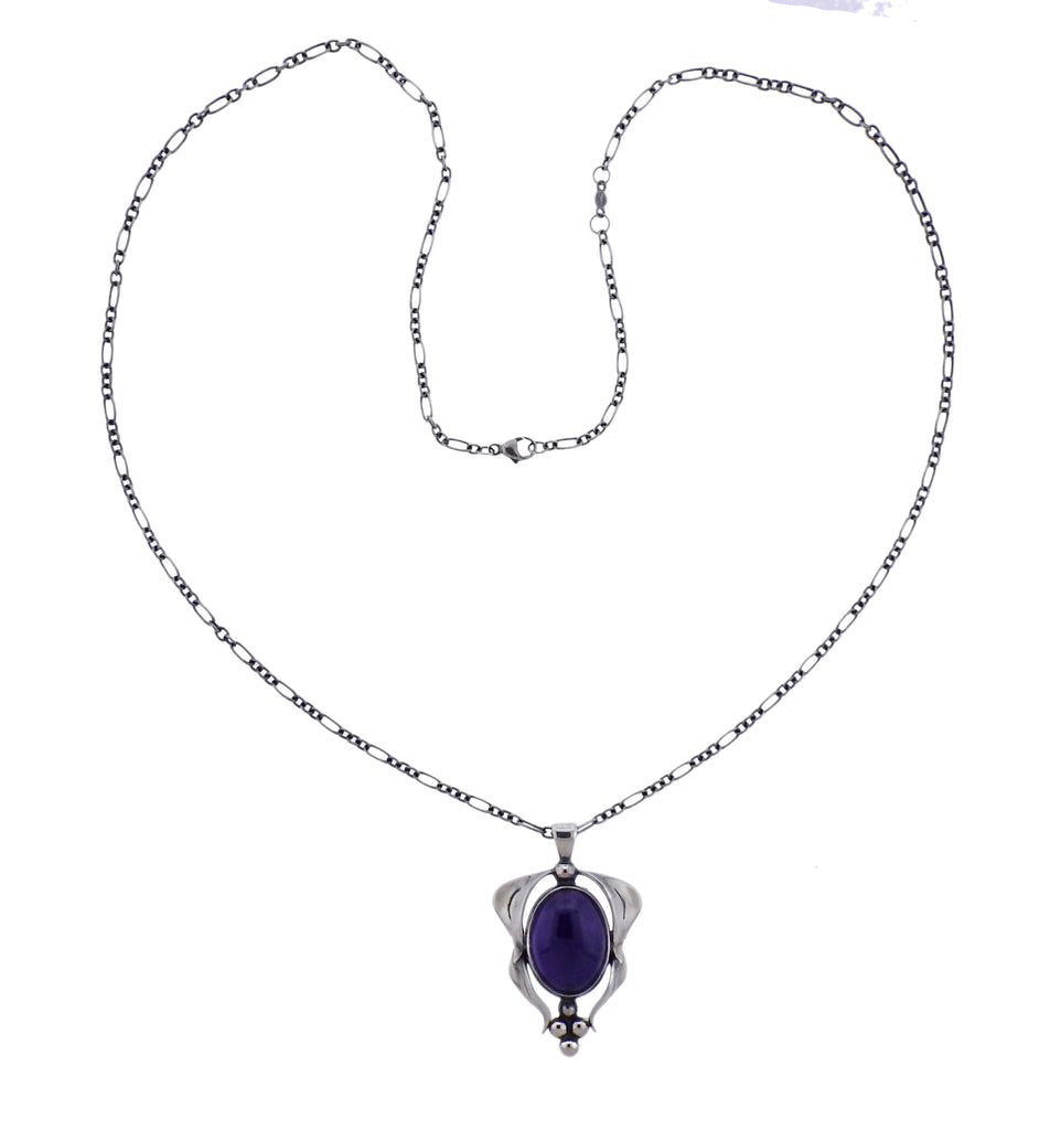 thumbnail image of Georg Jensen Amethyst Sterling Silver Pendant Necklace
