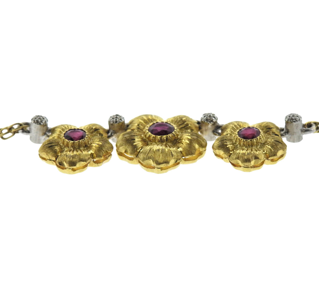 thumbnail image of Buccellati Ruby Gold Flower Pendant Necklace
