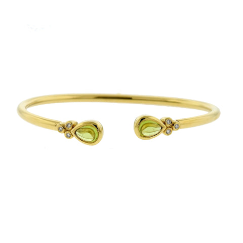 Temple St. Clair 18k Gold Diamond Peridot Bellina Cuff Bracelet