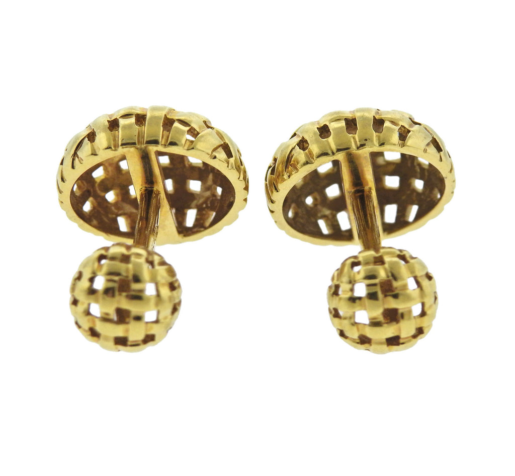 thumbnail image of 1990s Tiffany & Co 18k Gold Woven Cufflinks