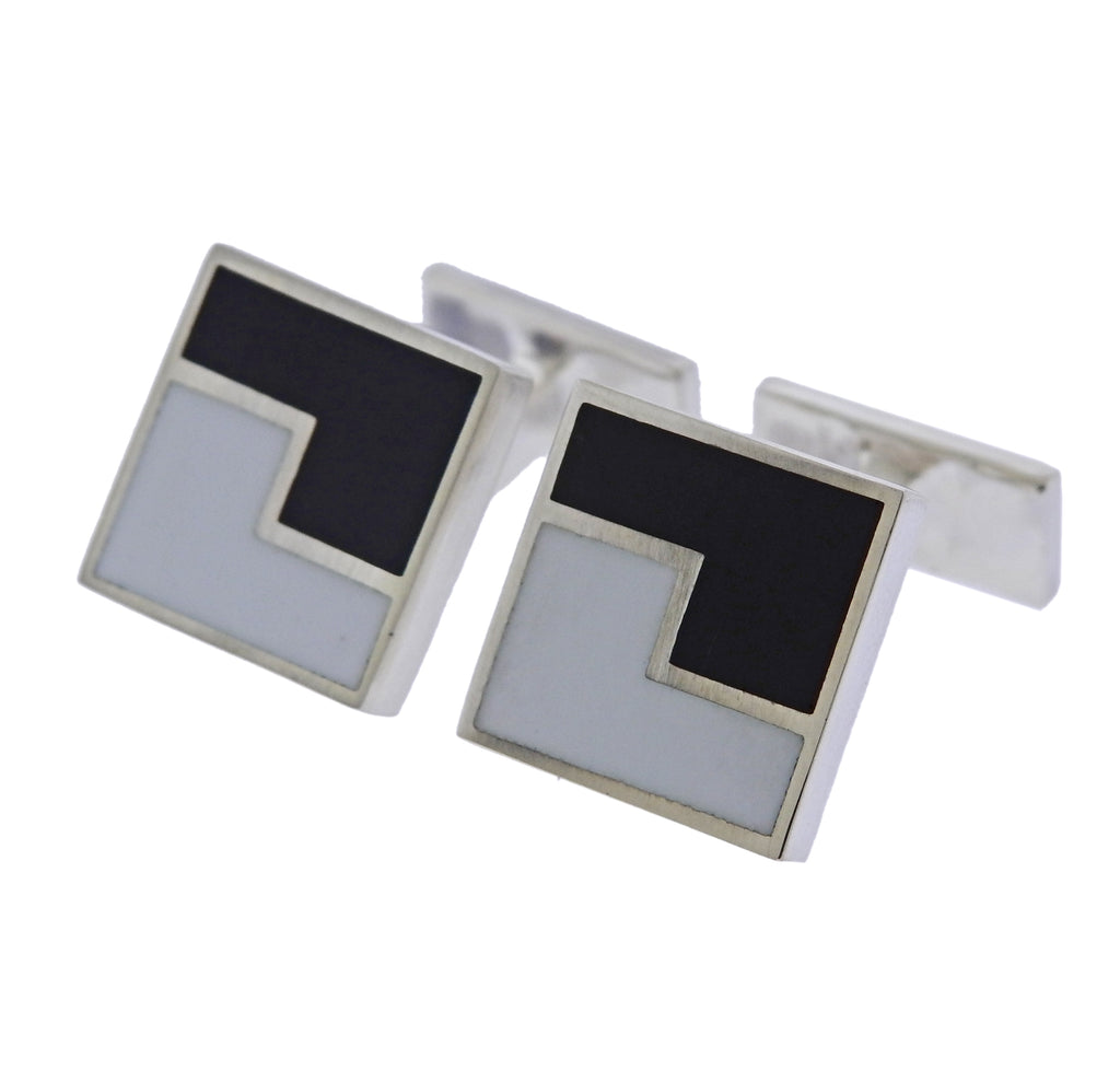 thumbnail image of Georg Jensen Art Deco Sterling Silver Enamel Cufflinks
