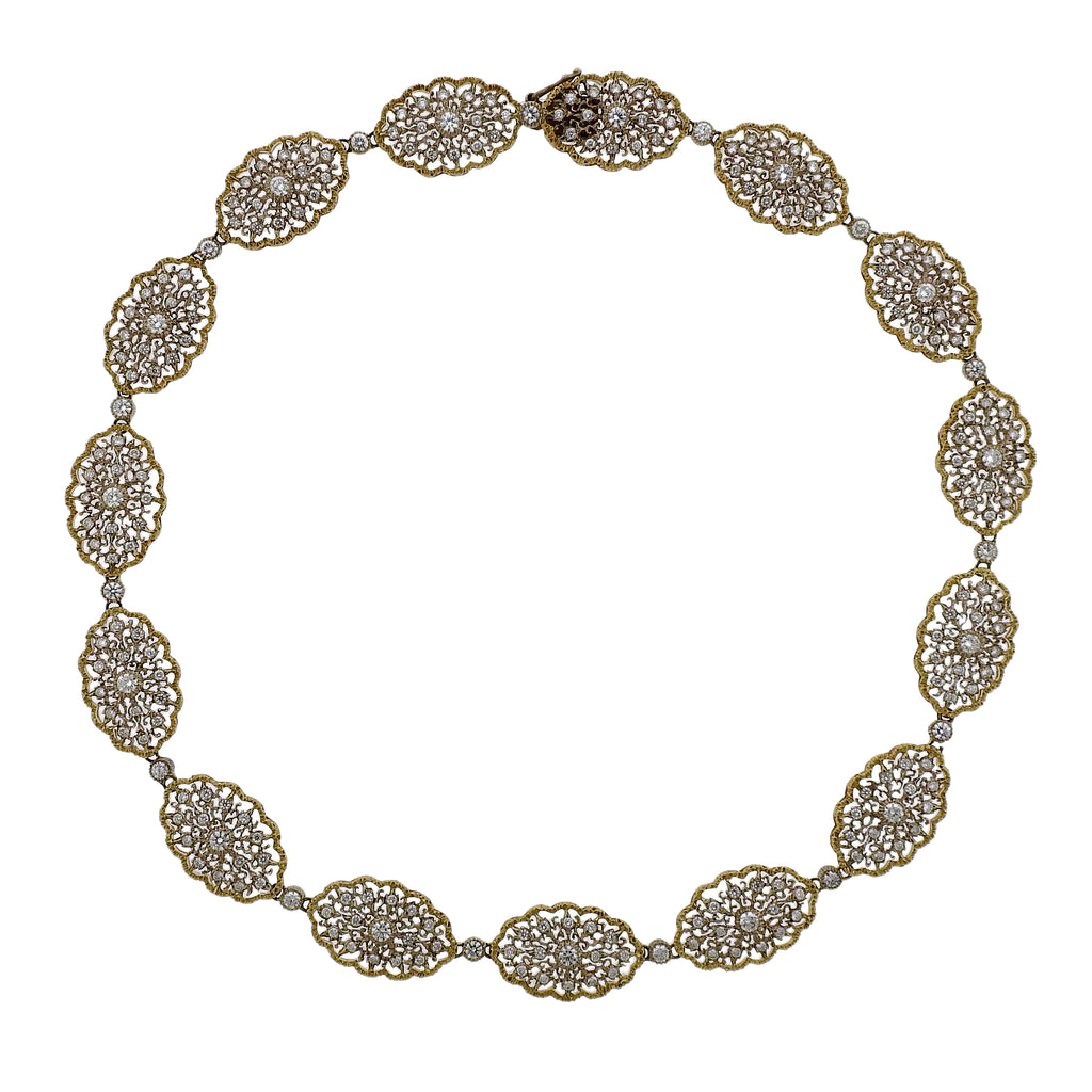 thumbnail image of Mario Buccellati Diamond Gold Lace Necklace
