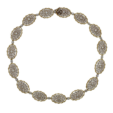 image of Mario Buccellati Diamond Gold Lace Necklace