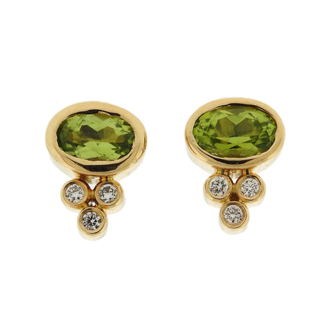 Temple St. Clair 18k Gold Classic Peridot Diamond Stud Earrings