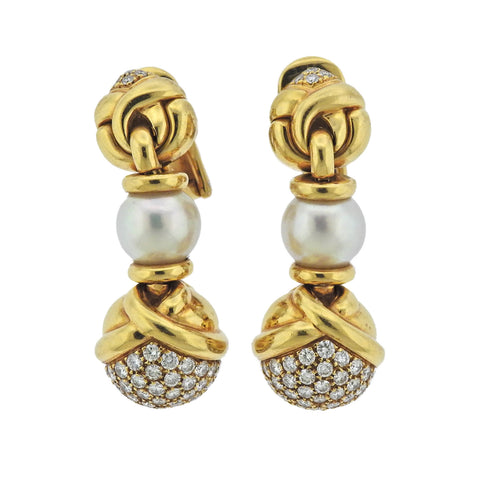 image of Bulgari Diamond Pearl 18k Gold Drop Earrings