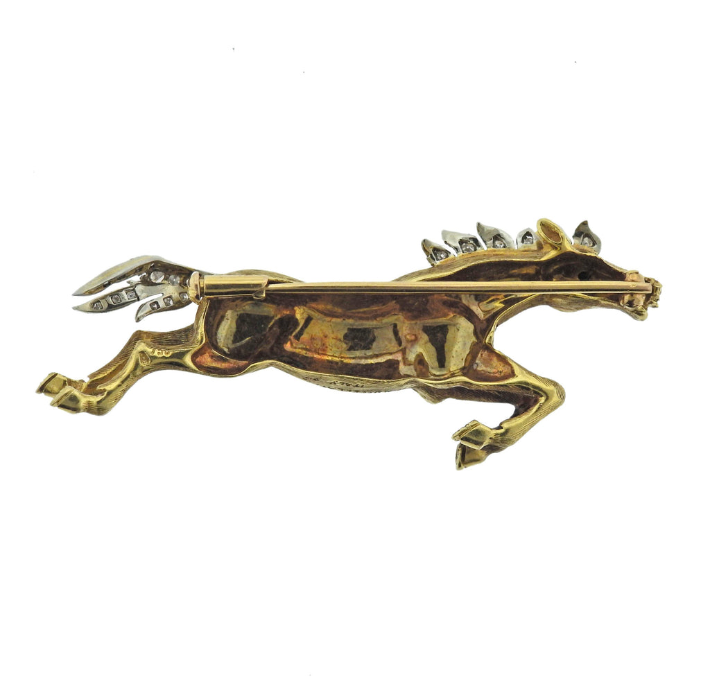 thumbnail image of Buccellati Diamond Gold Running Horse Brooch Pin