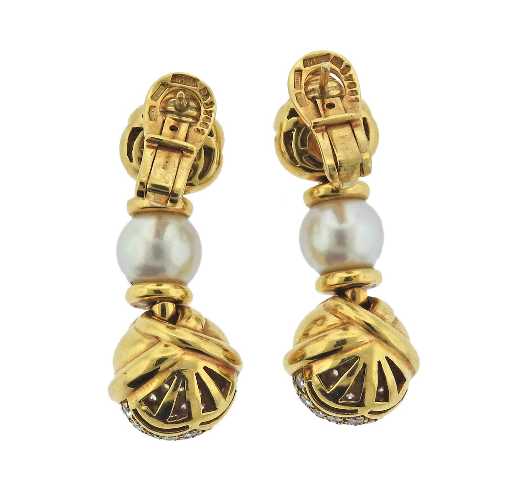 thumbnail image of Bulgari Diamond Pearl 18k Gold Drop Earrings