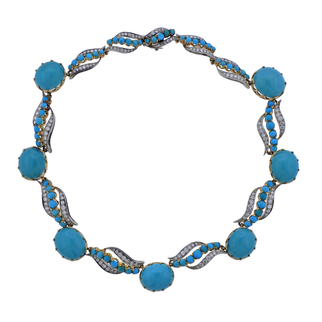 thumbnail image of Mid Century Diamond Turquoise Gold Necklace