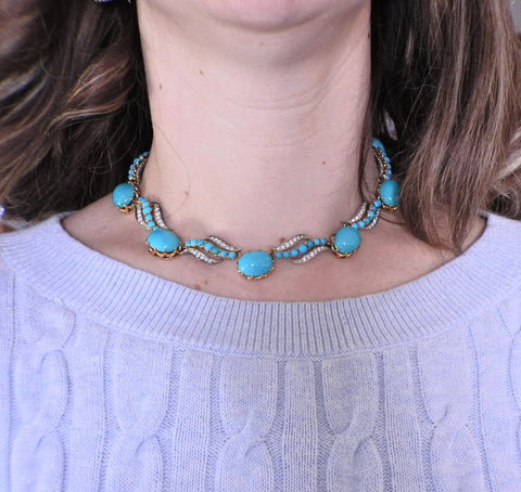 image of Mid Century Diamond Turquoise Gold Necklace