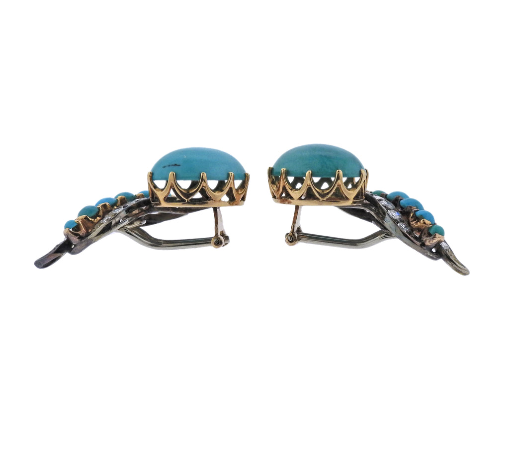 thumbnail image of Mid Century Diamond Turquoise Gold Earrings