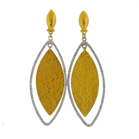 image of Gurhan Willow Flake Gold Diamond Earrings