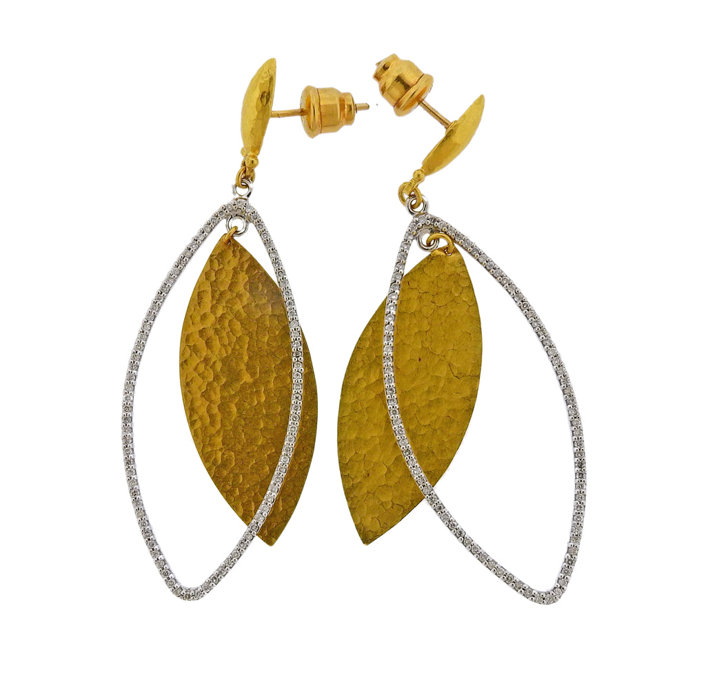 thumbnail image of Gurhan Willow Flake Gold Diamond Earrings