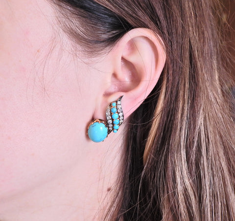 image of Mid Century Diamond Turquoise Gold Earrings