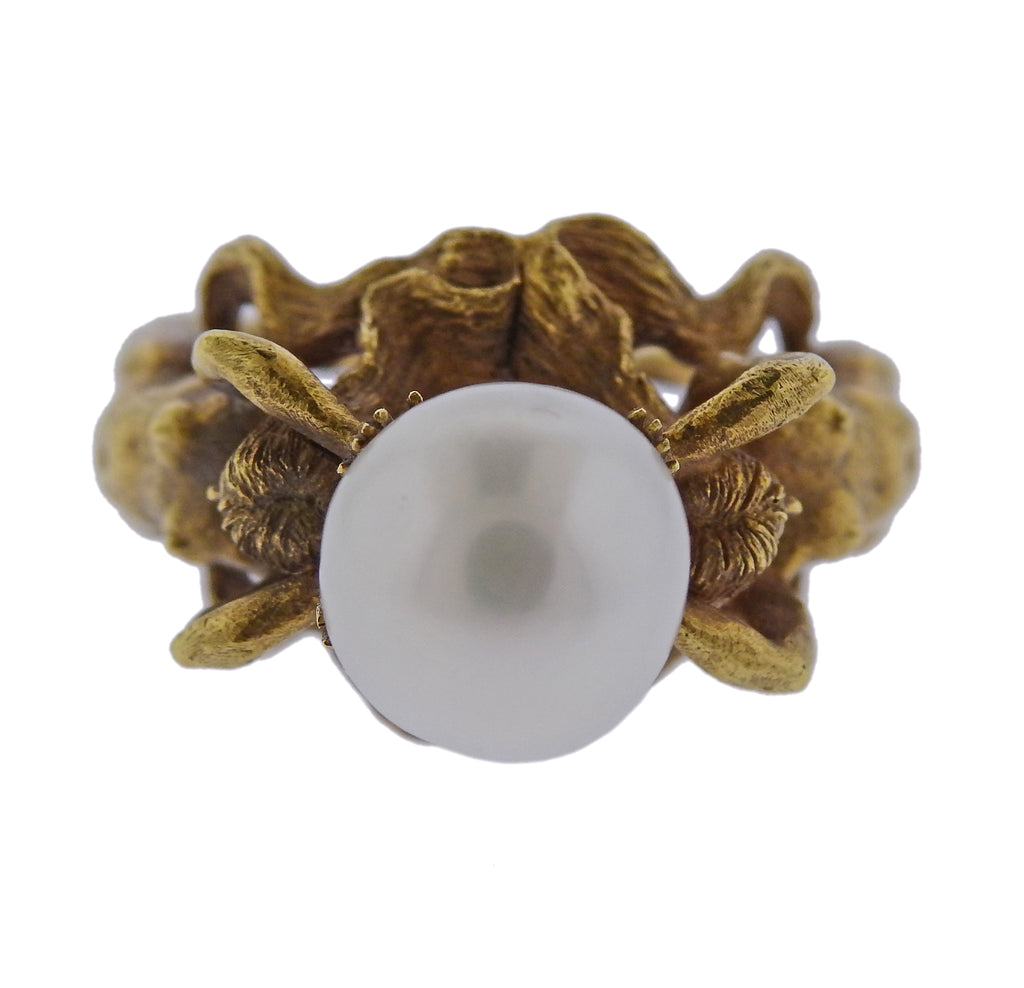 thumbnail image of Unusual Pearl Gold Nude Nymph Ring