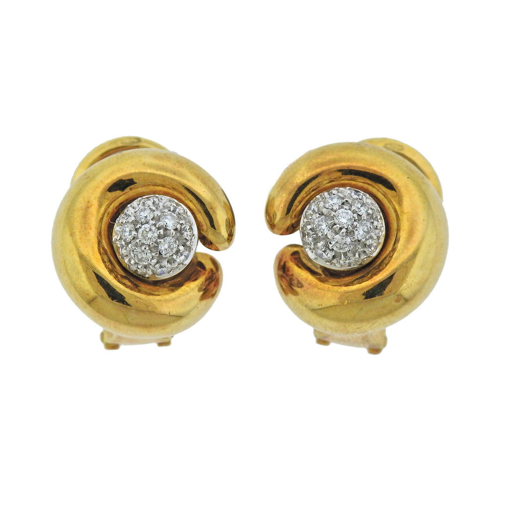 thumbnail image of Pomellato Diamond 18k Gold Night & Day Earrings