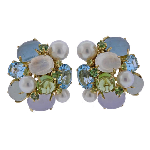 image of Seaman Schepps Pearl Aquamarine Moonstone Gold Large Bubble Earrings