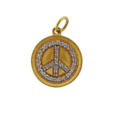 image of Peace Sign Diamond Gold Pendant