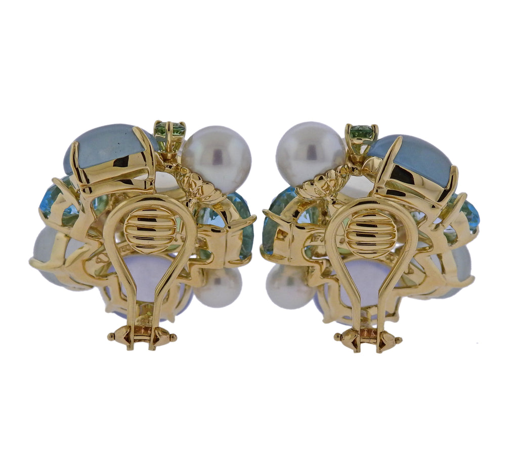 thumbnail image of Seaman Schepps Pearl Aquamarine Moonstone Gold Large Bubble Earrings