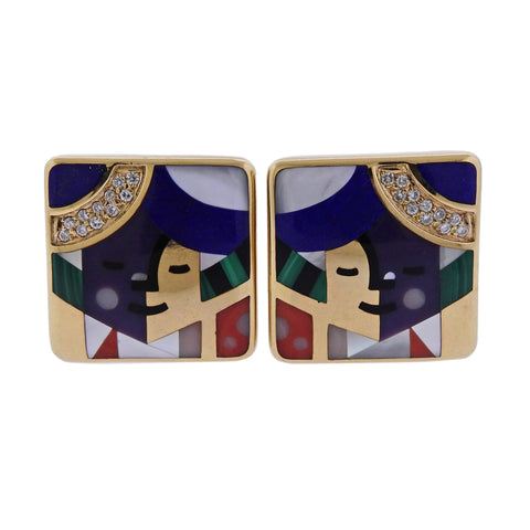 image of Designer Signed Limited Edition 14k Gold Inlay Gemstone Diamond Earrings