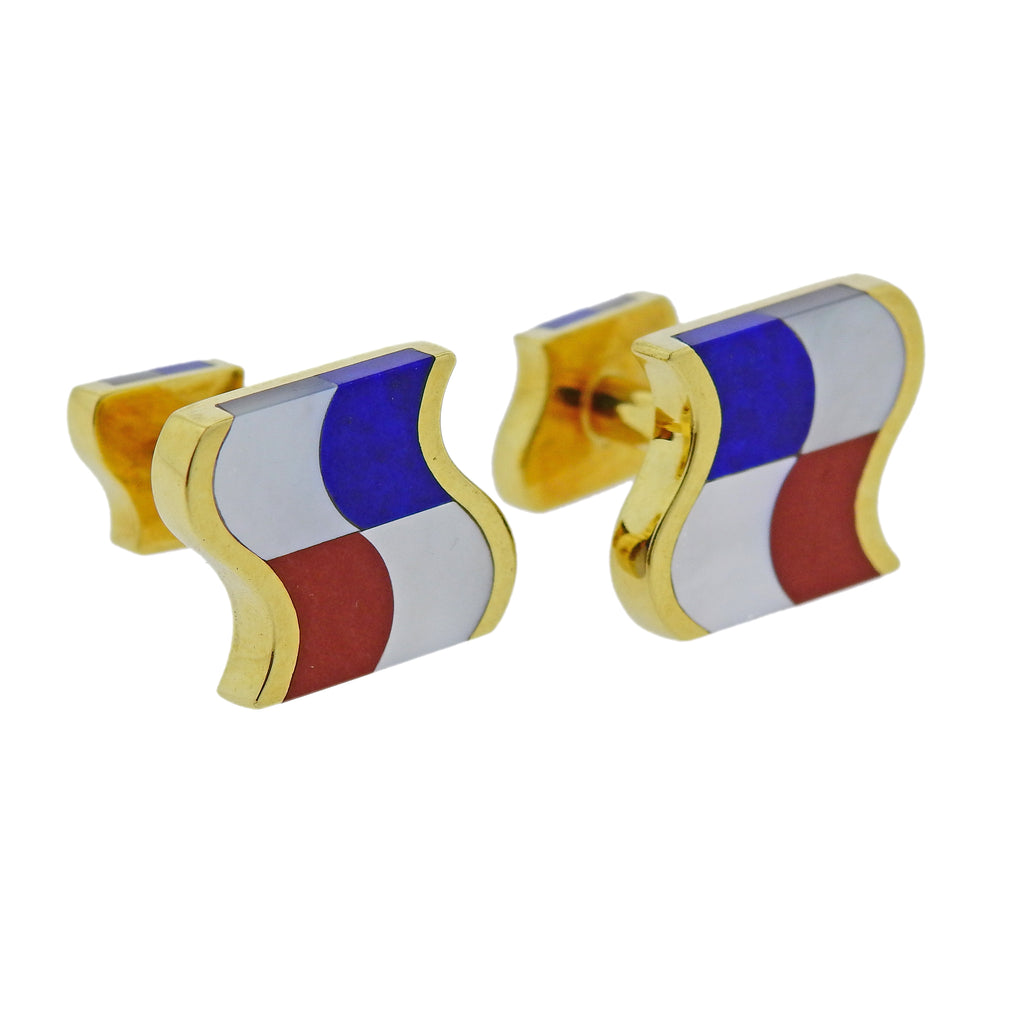 thumbnail image of Tiffany & Co Mother of Pearl Lapis Coral Inlay Gold Cufflinks