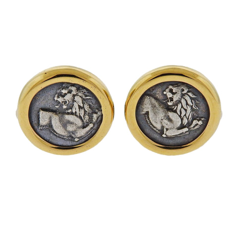 image of Bulgari Ancient Coin Gold Cufflinks