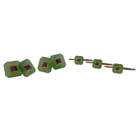 image of Trianon Nephrite Ruby Gold Cufflinks Stud Set