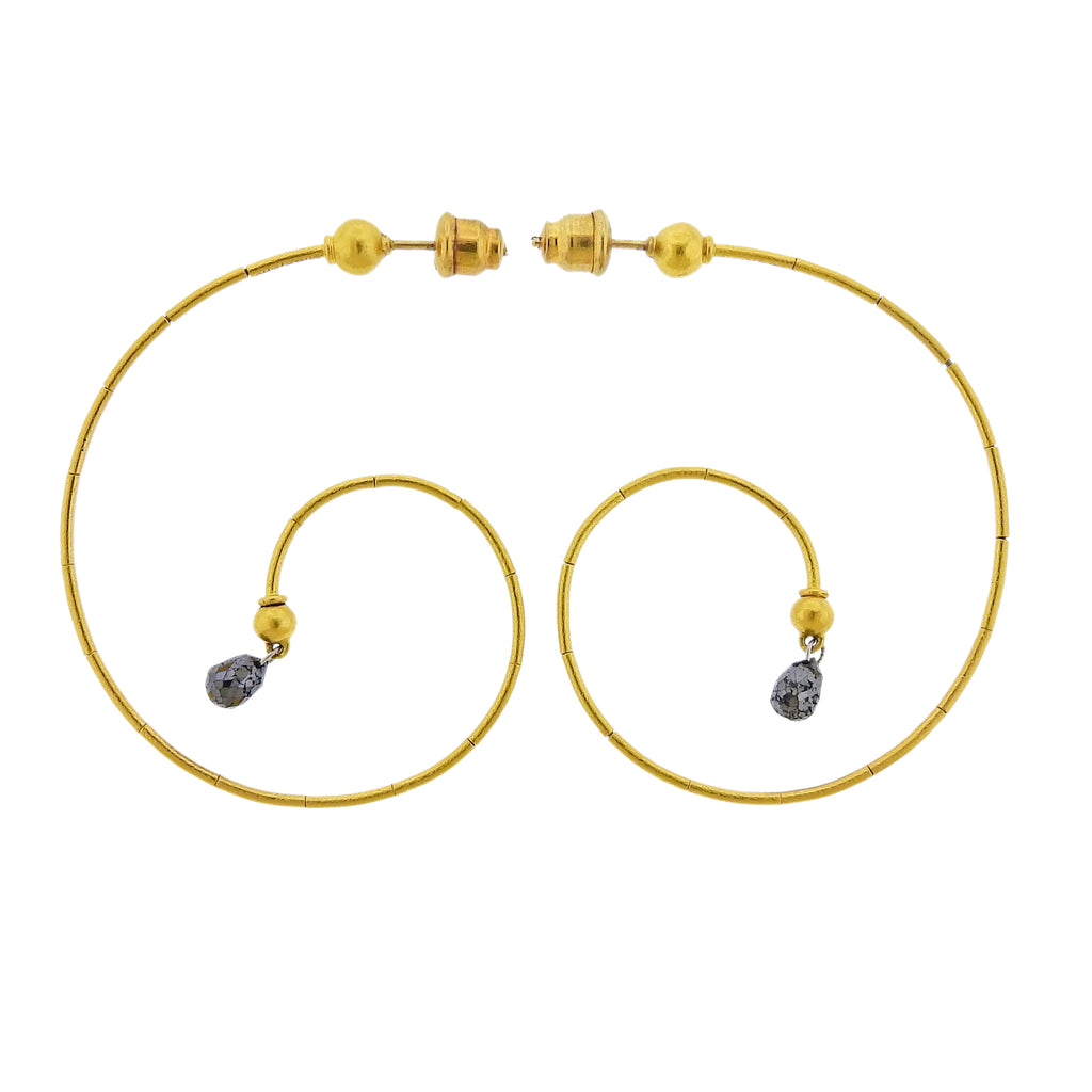 thumbnail image of Gurhan Dew Swirl Gold Black Diamond Briolette Earrings
