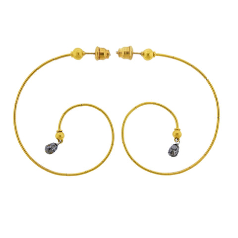 image of Gurhan Dew Swirl Gold Black Diamond Briolette Earrings