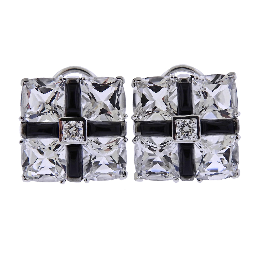 thumbnail image of Seaman Schepps Diamond Crystal Onyx Gold Quad Earrings