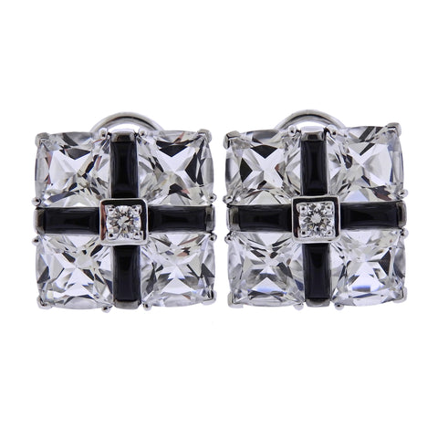 image of Seaman Schepps Diamond Crystal Onyx Gold Quad Earrings