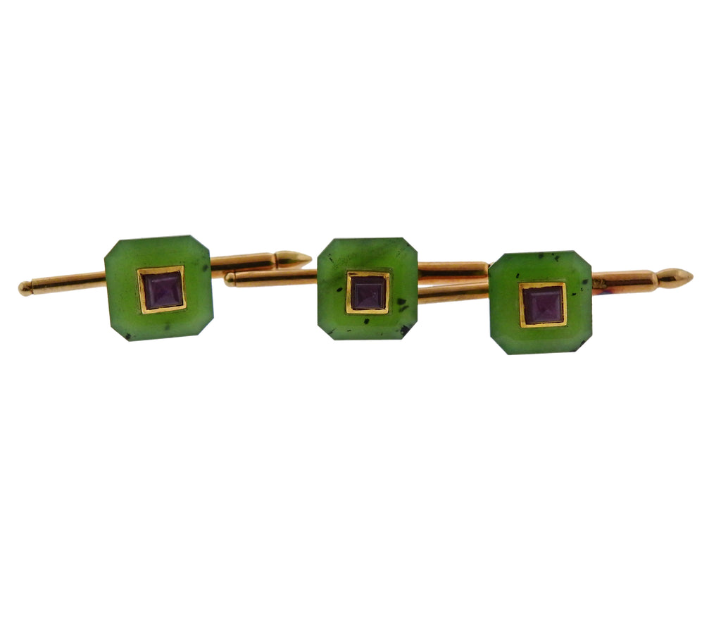 thumbnail image of Trianon Nephrite Ruby Gold Cufflinks Stud Set