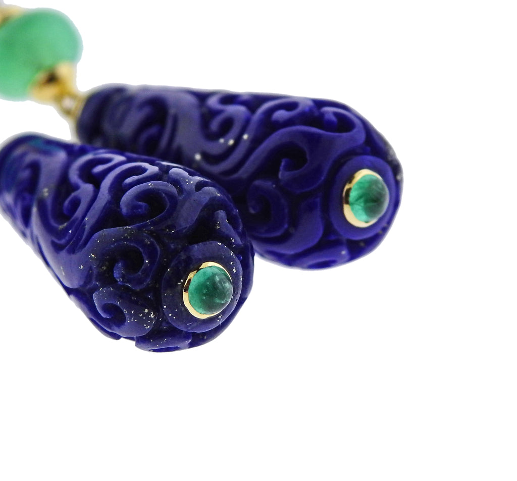 thumbnail image of Seaman Schepps Carved Lapis Chrysoprase Gold Canton Earrings