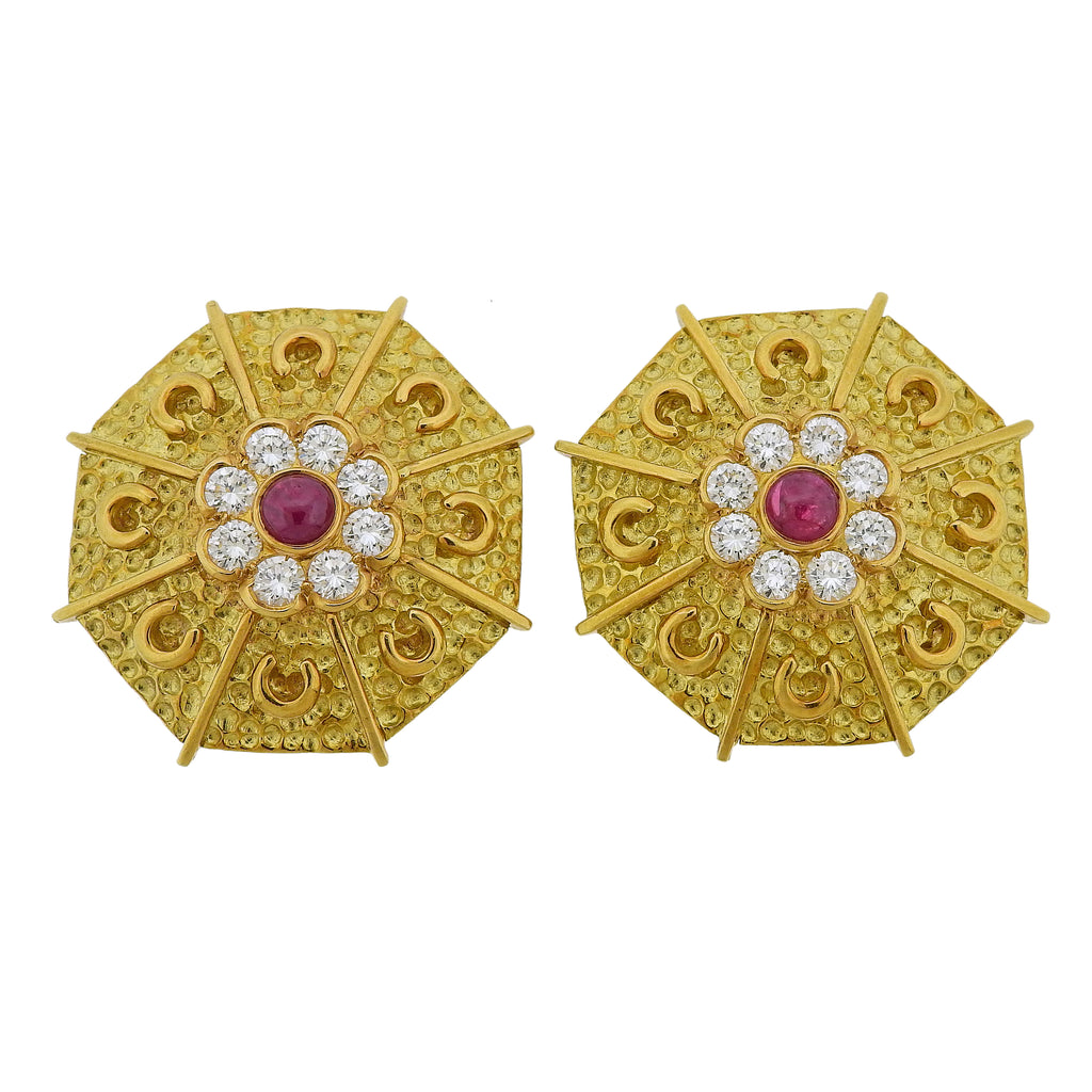 thumbnail image of Andre Vassort France Gold Diamond Ruby Brooch Earrings Set