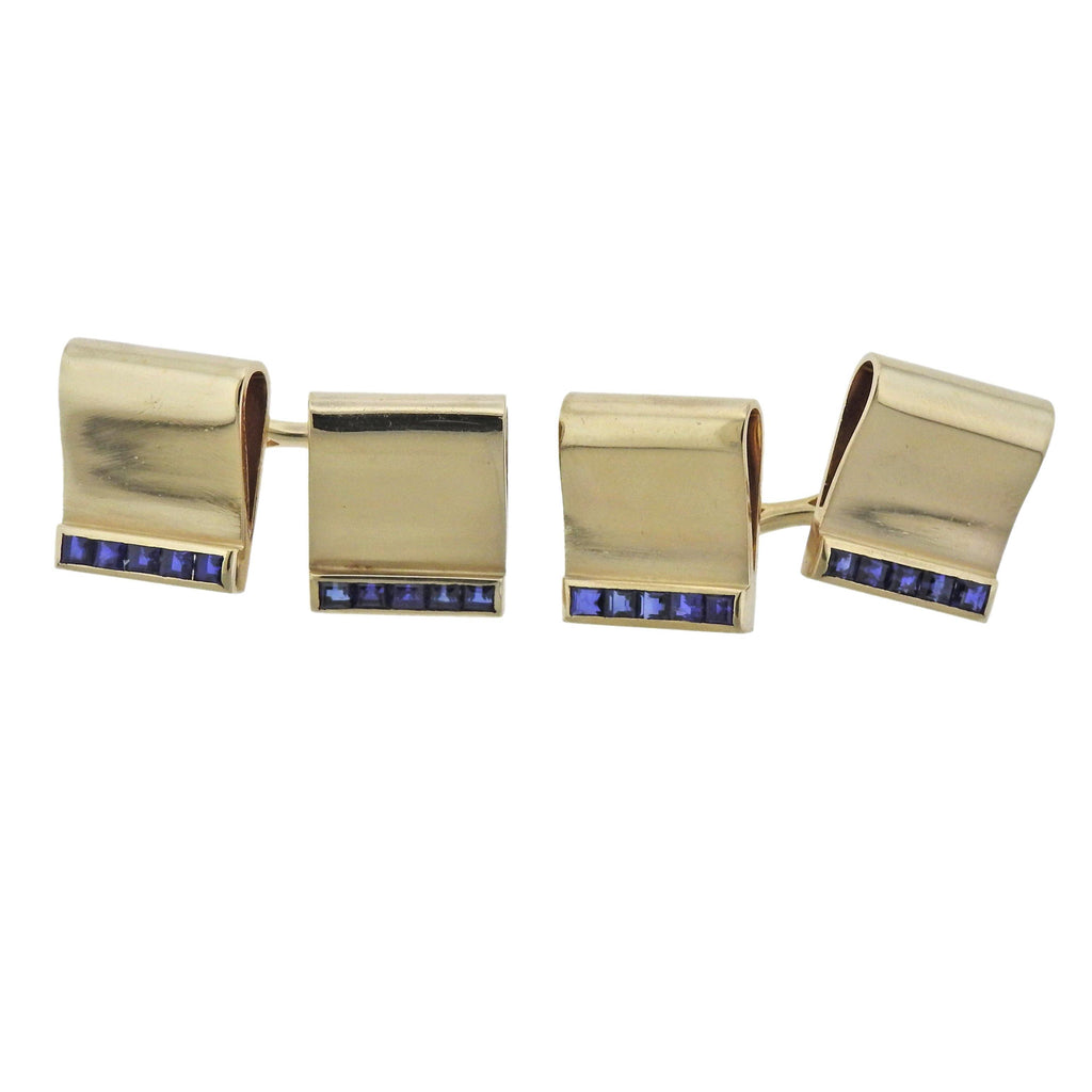 thumbnail image of Mid Century Sapphire Gold Cufflinks