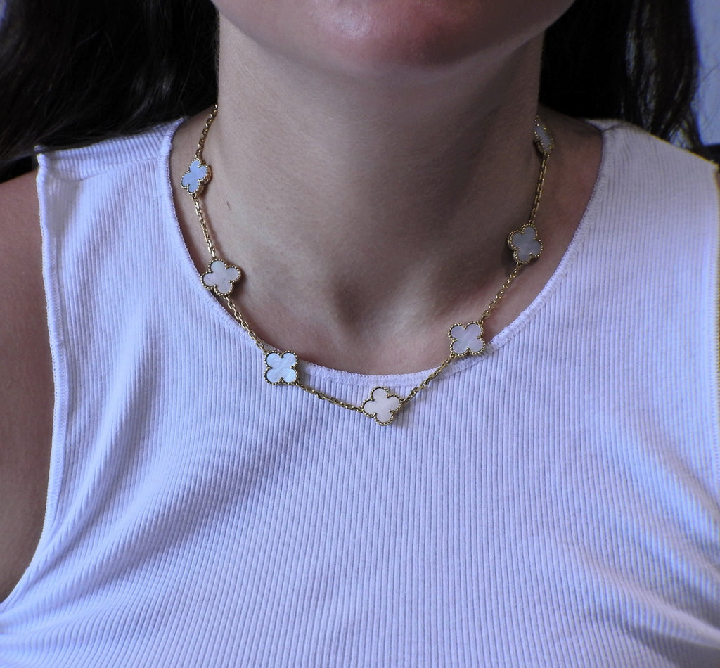 thumbnail image of Van Cleef & Arpels Vintage Alhambra Mother of Pearl Ten Motif Necklace