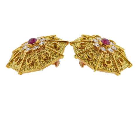 image of Andre Vassort France Gold Diamond Ruby Brooch Earrings Set