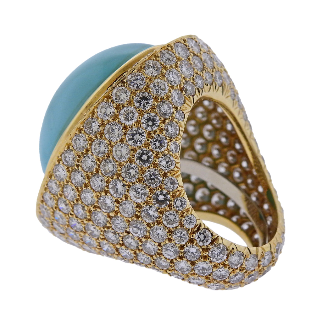 thumbnail image of David Webb Turquoise 19 Carat Diamond Gold Ring
