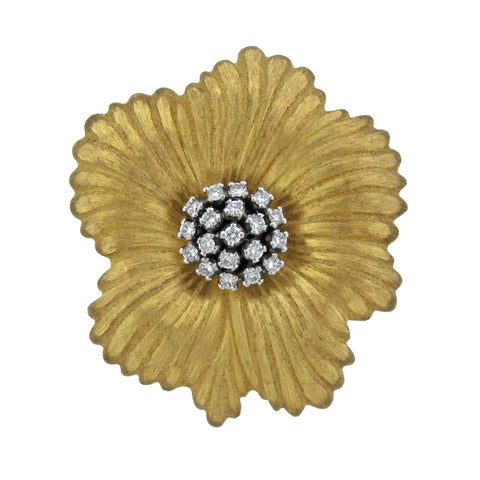image of Buccellati Blossoms Flower Diamond Gold Brooch Pendant