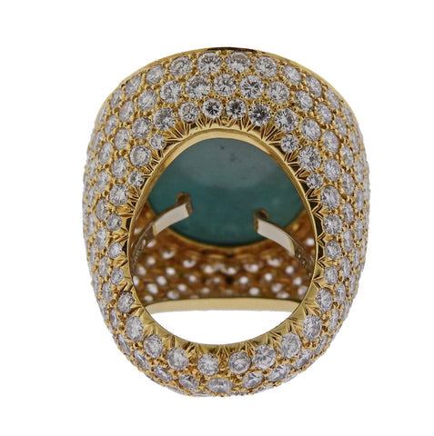 image of David Webb Turquoise 19 Carat Diamond Gold Ring