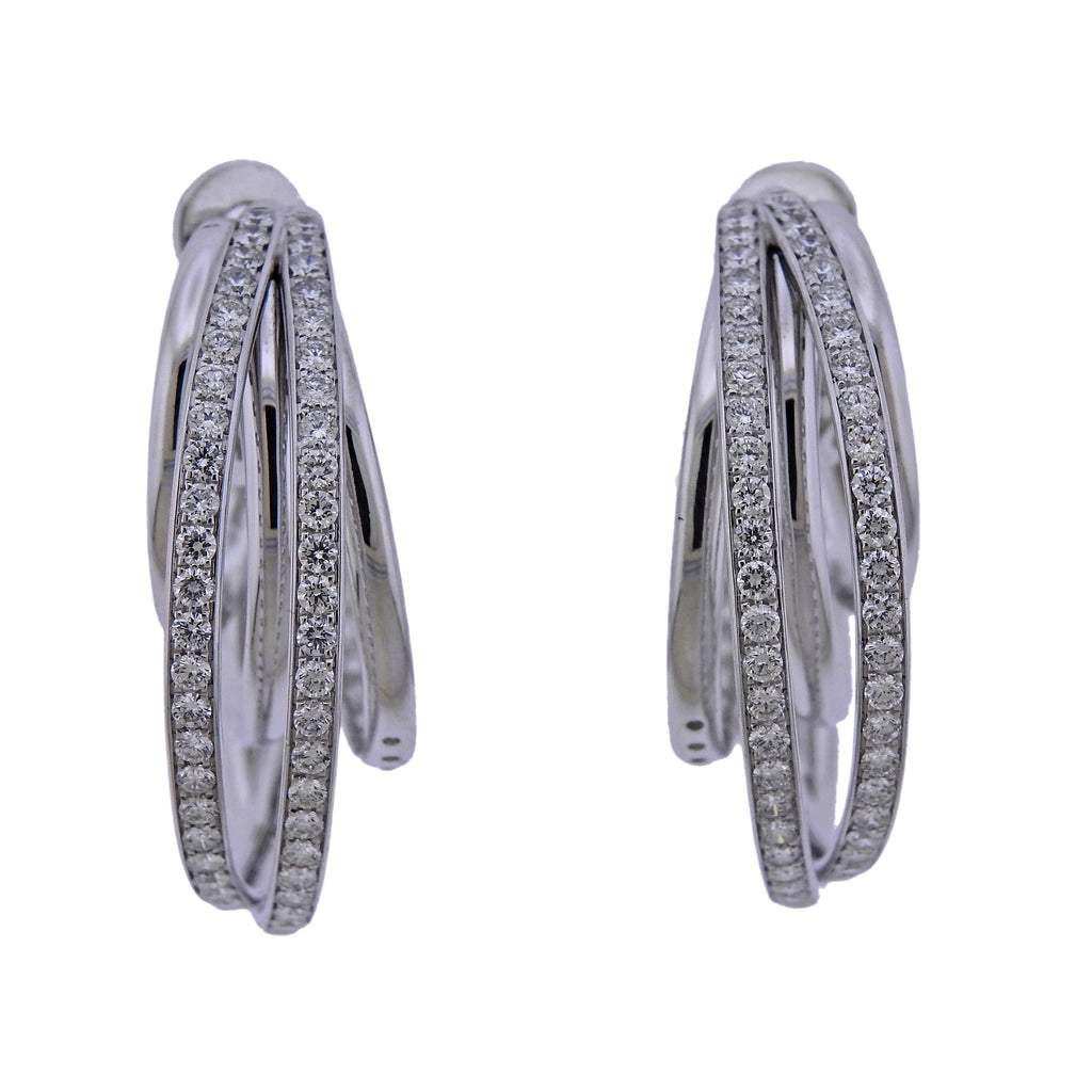 thumbnail image of De Grisogono Diamond Gold Allegra Hoop Earrings