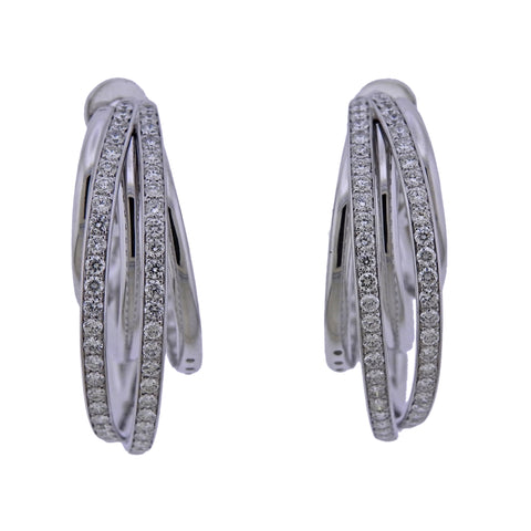 image of De Grisogono Diamond Gold Allegra Hoop Earrings