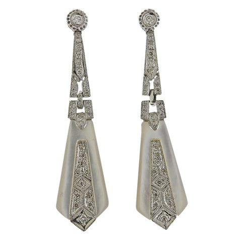 image of 18K White Gold Diamond Mother of Pearl Drop Earrings