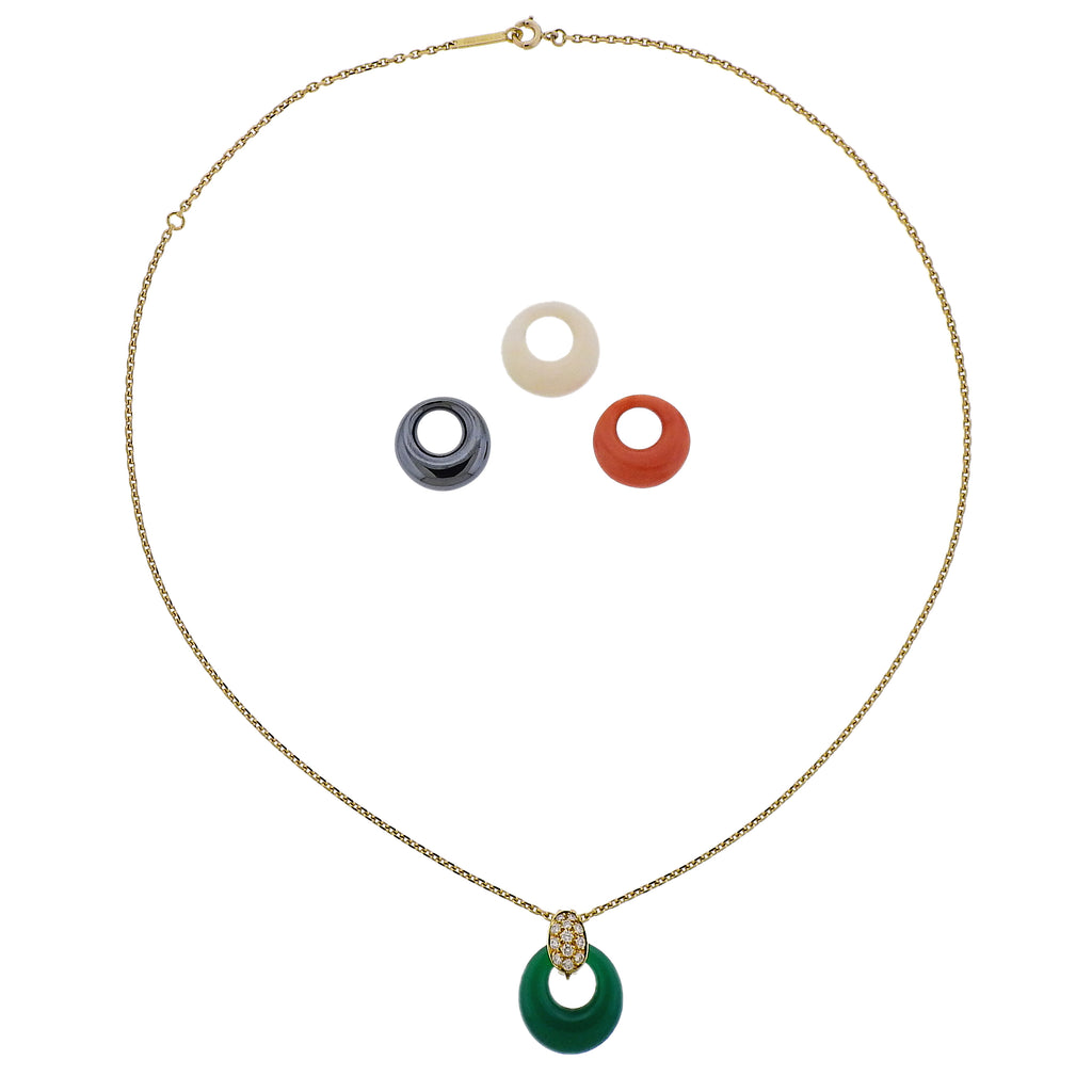 thumbnail image of Vintage Van Cleef & Arpels Diamond Chrysoprase Coral Necklace
