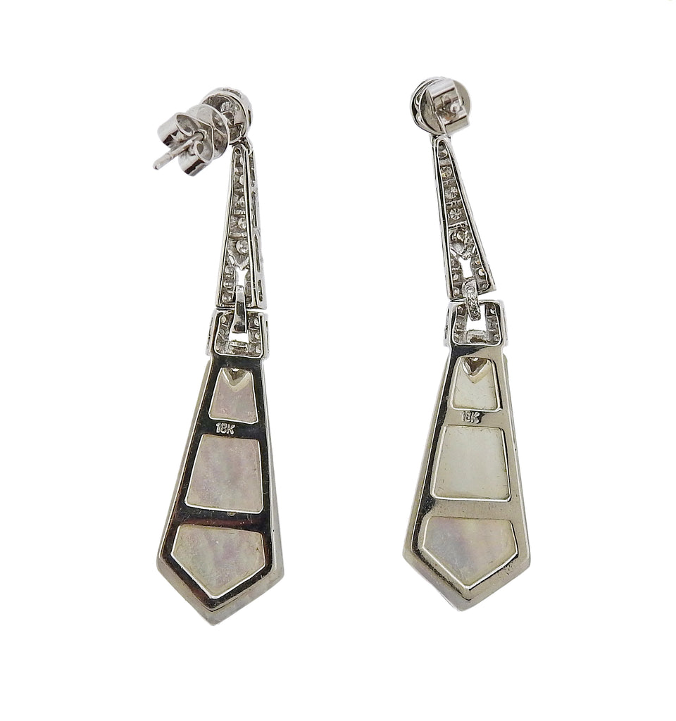 thumbnail image of 18K White Gold Diamond Mother of Pearl Drop Earrings