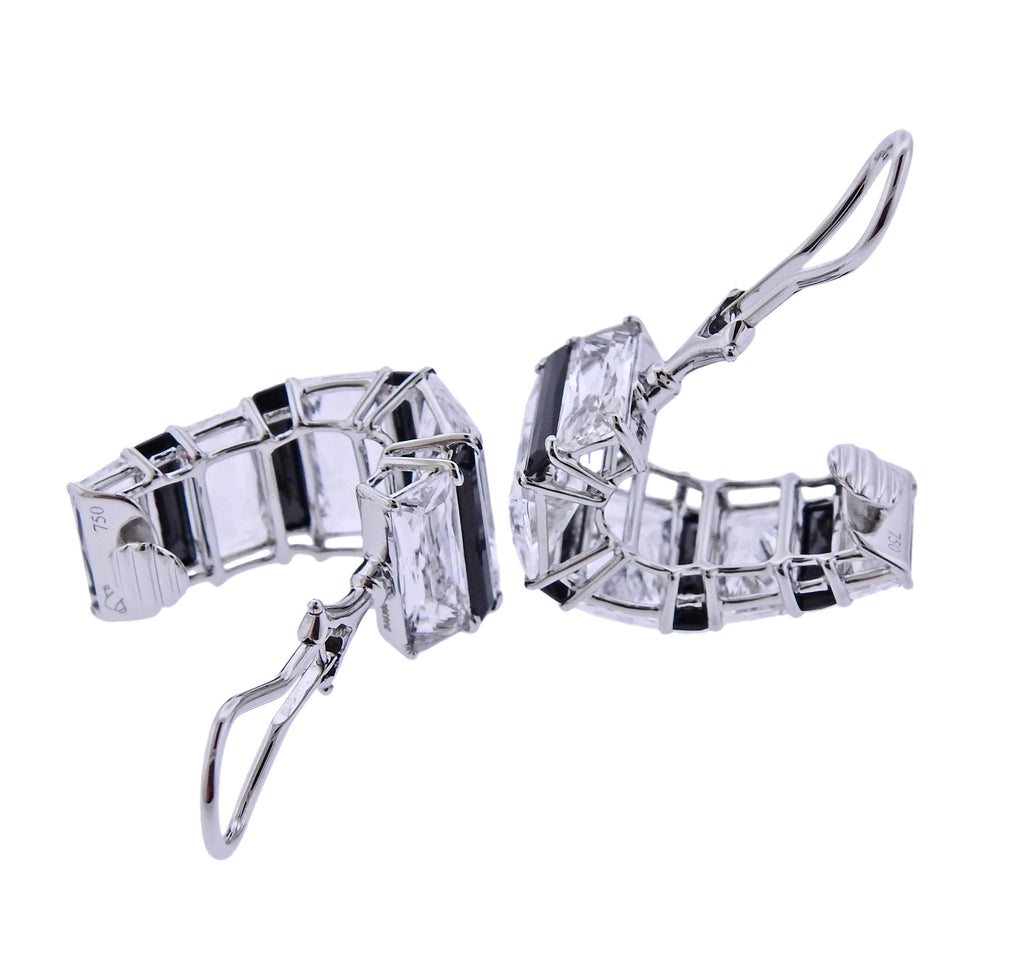 thumbnail image of Seaman Schepps Crystal Onyx Gold Baguette Hoop Earrings