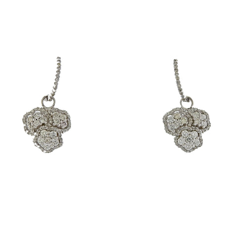 image of 18K White Gold Diamond Cluster Hoop Earrings