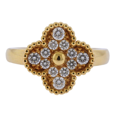 image of Van Cleef & Arpels Vintage Alhambra Diamond Gold Ring