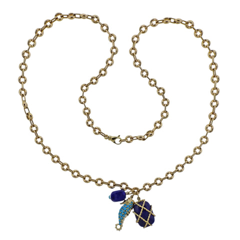 image of Seaman Schepps Turquoise Seahorse Caged Lapis Pendant Gold Link Necklace