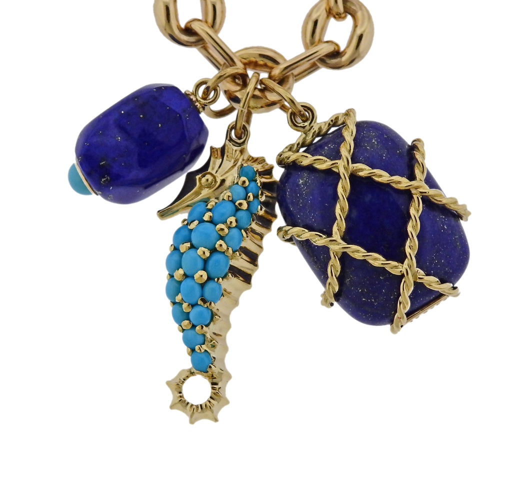 thumbnail image of Seaman Schepps Turquoise Seahorse Caged Lapis Pendant Gold Link Necklace