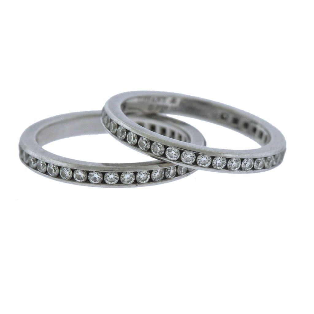 thumbnail image of Tiffany & Co Platinum Diamond Eternity Wedding Band Ring Set